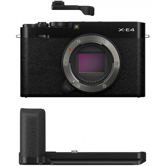 FUJIFILM X-Series X-E4 Mirrorless Camera Body with Accessories - Metal Hand Grip (MHG-XE4) and Thumb Rest (TR-XE4)(Black)
