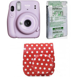 FUJIFILM Instax Mini 11 INSTAX Mini 11 Instant Film Camera with 10X1 Pack of Instant Film With Dot Red Pouch Instant Camera(Purple)