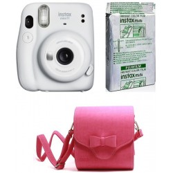 FUJIFILM Instax Mini 11 Ice White with Bowknot Pouch and 10x1 film Instant Camera(White)
