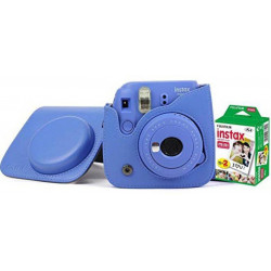FUJIFILM Instax Mini 9 Camera With Leather Bag and 20x Film Sheet - Cobalt Blue Instant Camera(Blue)
