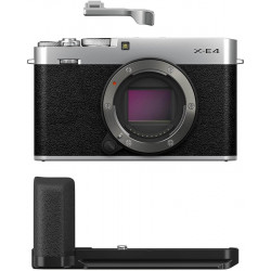 FUJIFILM X-Series X-E4 Mirrorless Camera Body with Accessories - Metal Hand Grip (MHG-XE4) and Thumb Rest (TR-XE4)(Silver)