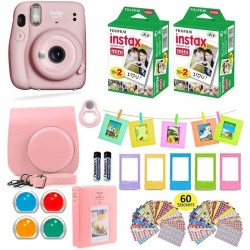 FUJIFILM Instax Mini 11 Instax Mini 11 Instant Camera Blush Pink + Carrying Case + Fuji Instax Film Value Pack (40 Sheets) Accessories Bundle, Color Filters, Photo Album, Assorted Frames Instant Camera(Pink)