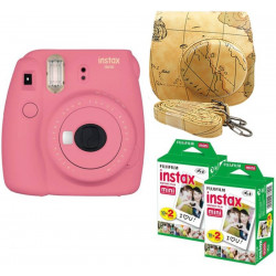 FUJIFILM Mini 9 Pink with Maps Case and 40 Shots Instant Camera(Pink)