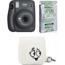FUJIFILM Instax Mini 11 Charcoal Gray with Whacky Expression case and 10x1 film Instant Camera(Multicolor)