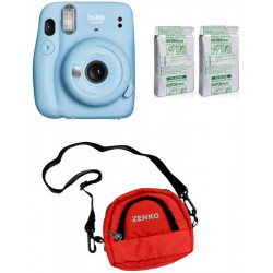 FUJIFILM Instax Mini 11 Sky Blue with Twin Pack of Instant Film With Red Pouch Instant Camera(Blue)
