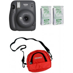 FUJIFILM Instax Mini 11 Charcoal Gray with Twin Pack of Instant Film With Red Pouch Instant Camera(Black, Grey, Red)