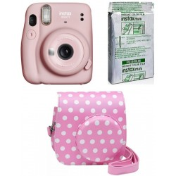 FUJIFILM Instax Mini 11 Blush Pink with Dot-Pink Pouch and 10x1 film Instant Camera(Pink)