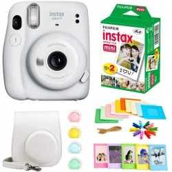 FUJIFILM Instax Mini 11 Instax Mini 11 white with 10x2 Film + Hanging Frames + Plastic Frames + Case + Close Up Filters Instant Camera(White)