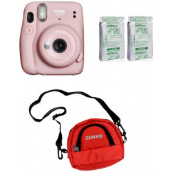 FUJIFILM Instax Mini 11 Blush Pink With Twin Pack Of Instant Film With Red Pouch Instant Camera(Pink)