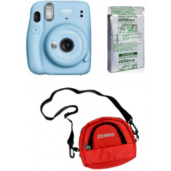 FUJIFILM Instax Mini 11 Sky Blue with 10X1 Instant Film With Red Pouch Instant Camera(Blue, Black, Red)