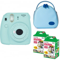 FUJIFILM Mini 9 Ice Blue with blue shell bag and 40 Shots Instant Camera(Blue)