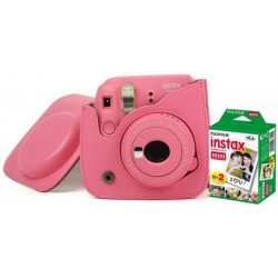 FUJIFILM Instax Mini 9 Camera With Leather Bag and 20x Film Sheet - Flamingo Pink Instant Camera(Pink)