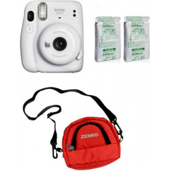 FUJIFILM Instax Mini 11 Ice White with Twin Pack of Instant Film With Red Pouch Instant Camera(White)