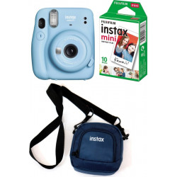 FUJIFILM Instax mini 11 Sky Blue with pouch and 10 Shot film Instant Camera(Blue)