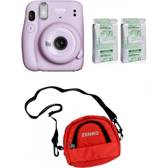 FUJIFILM Instax Mini 11 Lilac Purple with Twin Pack of Instant Film With Red Pouch Instant Camera(Purple)