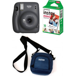 FUJIFILM Instax Mini 11 Black with Pouch and 10 Shot film Instant Camera(Grey)