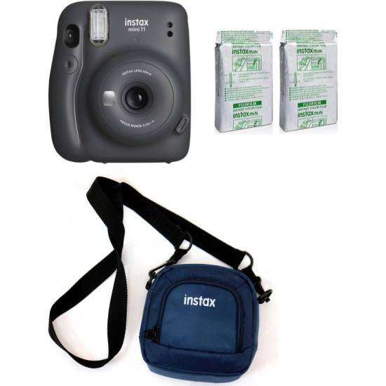 FUJIFILM Instax Mini 11 Mini 11 Charcoal Grey with 20 Shot film and pouch Instant Camera(Grey)