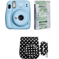 FUJIFILM Instax mini Mini 11 Instant Film Camera with 10X1 Pack of Instant Film With Dot Black Pouch Instant Camera(Blue)