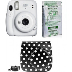 FUJIFILM Instax Mini 11 INSTAX Mini 11 Instant Film Camera with 10X1 Pack of Instant Film With Dot Black Pouch Instant Camera(White)