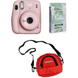 FUJIFILM Instax Mini 11 Blush Pink with 10X1 Pack of Instant Film with Red Pouch Instant Camera(Pink)