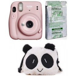 FUJIFILM Instax Mini INSTAX Mini 11 Instant Film Camera with 10X1 Pack of Instant Film With Panda Pouch Instant Camera(Pink)