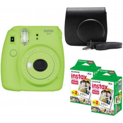 FUJIFILM Mini 9 Lime Green with Black Case and 40 Shots Instant Camera(Green)