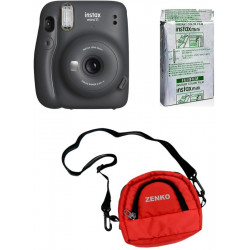 FUJIFILM Instax Mini 11 Charcoal Gray With 10X1 Instant Film With Red Pouch Instant Camera(Black)