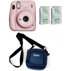 FUJIFILM Instax Mini 11 Blush Pink with Twin Pack of Instant Film With Pouch Instant Camera(Pink, Blue, Black)