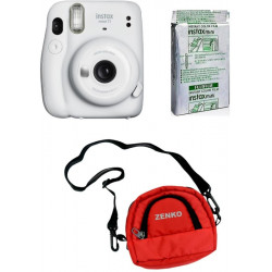FUJIFILM Instax Mini 11 Ice White With 10X1 Instant Film With Red Pouch Instant Camera(White, Black, Red)