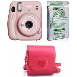 FUJIFILM Instax Mini 11 INSTAX Mini 11 Camera with 10X1 Film With Heart-Shaped Pouch Instant Camera(Pink)
