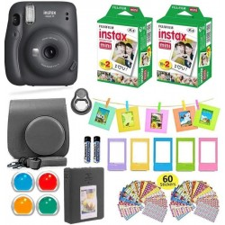 FUJIFILM Instax Mini 11 Charcoal Gray with Carrying Case Instax Film Value Pack (40 Sheets) Accessories Bundle Instant Camera(Black)
