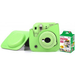 FUJIFILM Instax Mini 9 Camera With Leather Bag and 20x Film Sheet - Lime Green Instant Camera(Green)