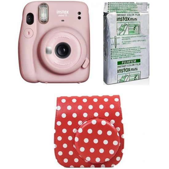 FUJIFILM Instax Mini 11 Mini 11 Instant Film Camera with 10X1 Film With Dot Red Pouch Instant Camera(Pink)