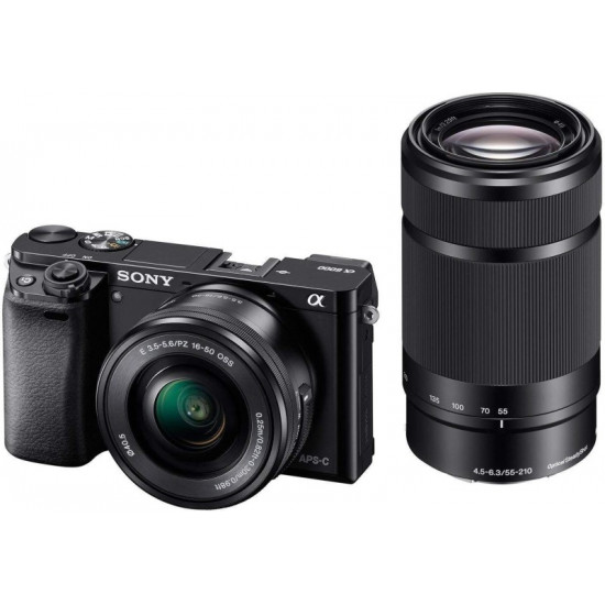 SONY Alpha ILCE-6000Y/b in5 Mirrorless Camera Body with Dual Lens : 16-50 mm & 55-210 mm(Black)