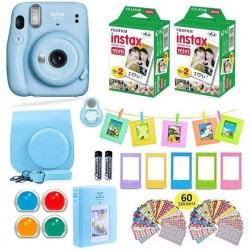 FUJIFILM Instax Mini 11 Sky Blue with Carrying Case with Film Value Pack (40 Sheets) Accessories Bundle Instant Camera(Blue)