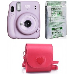 FUJIFILM Instax Mini 11 Camera with 10X1 Film With Heart-Shaped Pouch Instant Camera(Purple)
