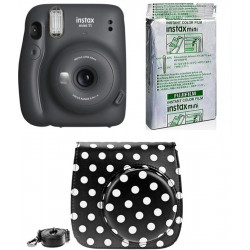 FUJIFILM Instax Mini 11 Instant Film Camera with 10X1 Pack of Instant Film With Dot Black Pouch Instant Camera(Grey)