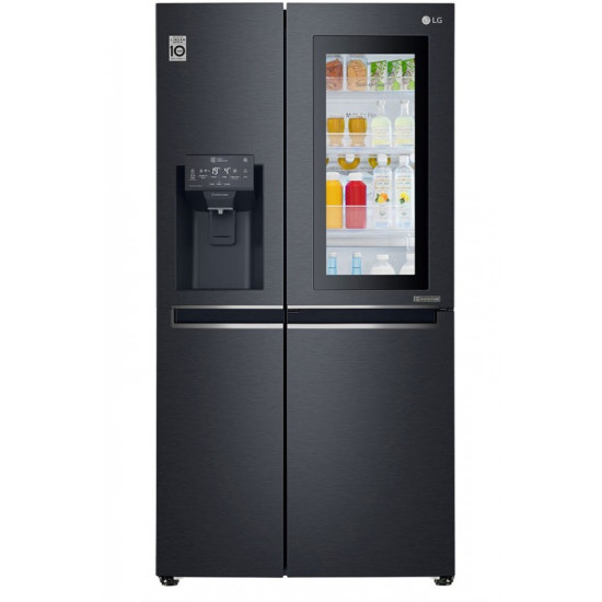 LG 668 L Frost Free Side by Side Refrigerator  with with Instaview and Smart ThinQ(WiFi Enabled)(Matt Black, GC-X247CQAV)