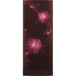 Haier 220 L Direct Cool Single Door 3 Star Refrigerator with Base Drawer(Red Blossom, HRD-2203PRB-E)