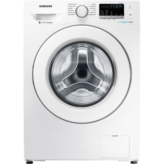 SAMSUNG 8 kg Inverter with Ecobubble Fully Automatic Front Load with In-built Heater White(WW80J4243MW/TL)