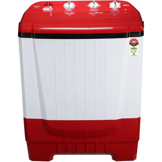 ONIDA 8 kg 5 Star Rating, Auto Scrubber Semi Automatic Top Load Red(S80ONR)
